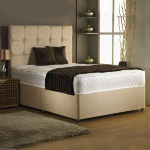 3ft Single Divan Bed Base in Stone Colour Suede