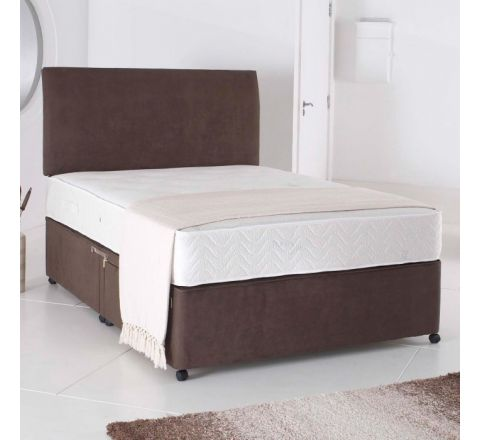 5ft King Size Divan Bed Base only in Brown Suede