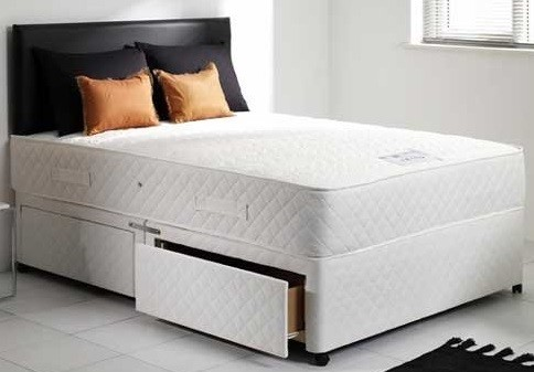 Mayfair White 5ft King Size Memory Foam Orthopaedic Sprung Divan Bed