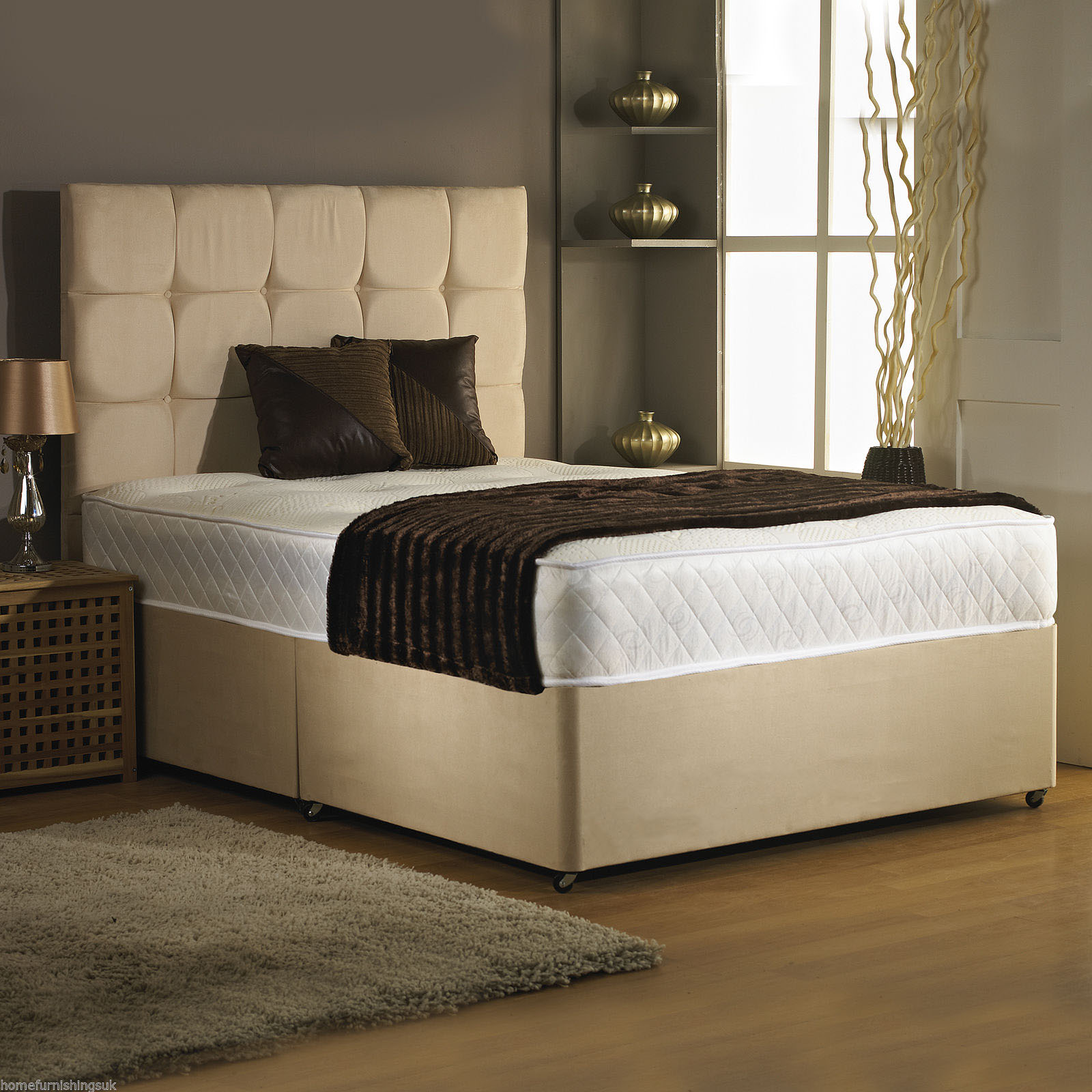 4ft Small Double Divan Bed Base only in Stone Colour Suede